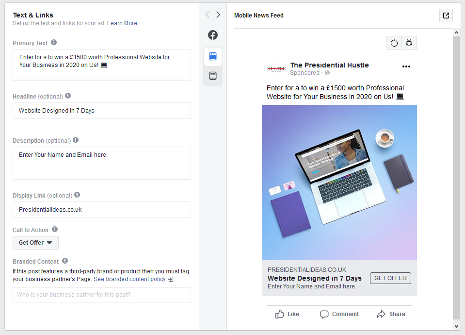steps to create facebook lead ads step 3